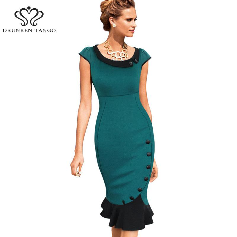 NEW 2017 Women Elegant Vintage Pinup Retro Patchwork Mermaid Party Stretch  Bodycon Wiggle Midi Pencil Office women Dresses-in Dresses from Women s  Clothing ... 2c5d6d4390d