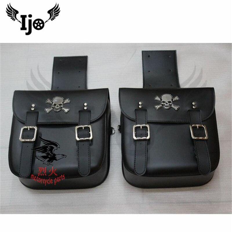 Sacs de selle de moto Ijo sac en cuir PU pour véhicule de croisière Yamaha sacoches latérales sac à outils pour Harley Cruiser après le marché
