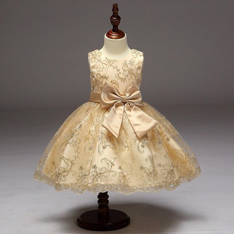 Einzelhandel 2017 Neue Ankunft Sommer Mädchen Kleid Empfohlene High-End Exquisite Stickerei Champagne Kleid Für Blumenmädchen Kleid L9027