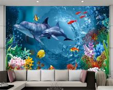 Custom photo wallpaper 3d painting HD Living room bedroom sofa background dolphin underwater world large wall mural wallpaper 3d цена 2017