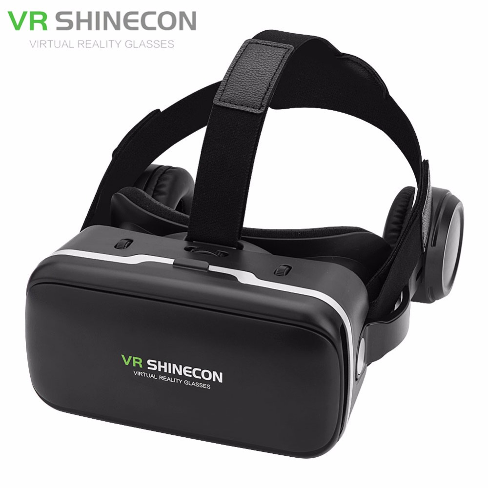 VR SHINECON 6.0 Virtual Reality 3D VR Glasses W/ Earphone For 3.5″-6.0″ Android iOS Phones