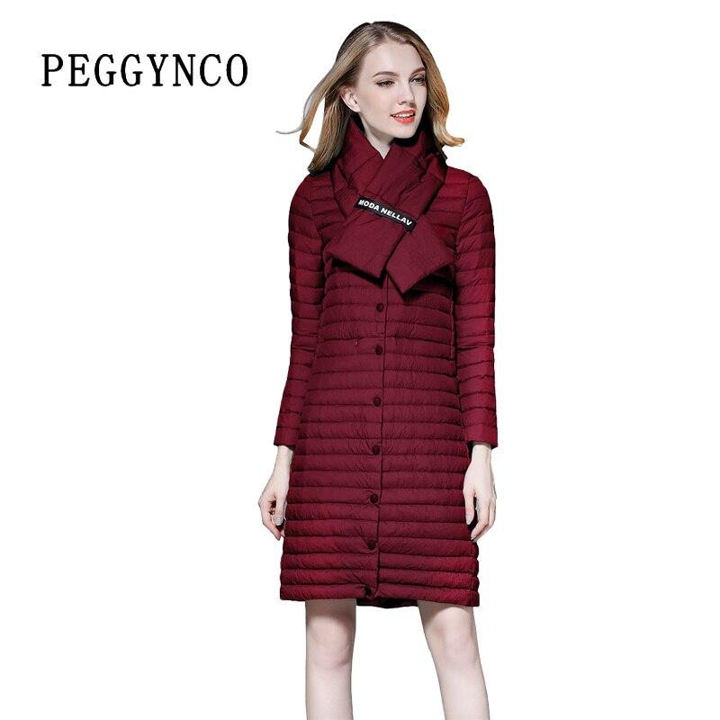Spring Casual Fashion Elegant Women Long Dark Red Puffer Coat ...