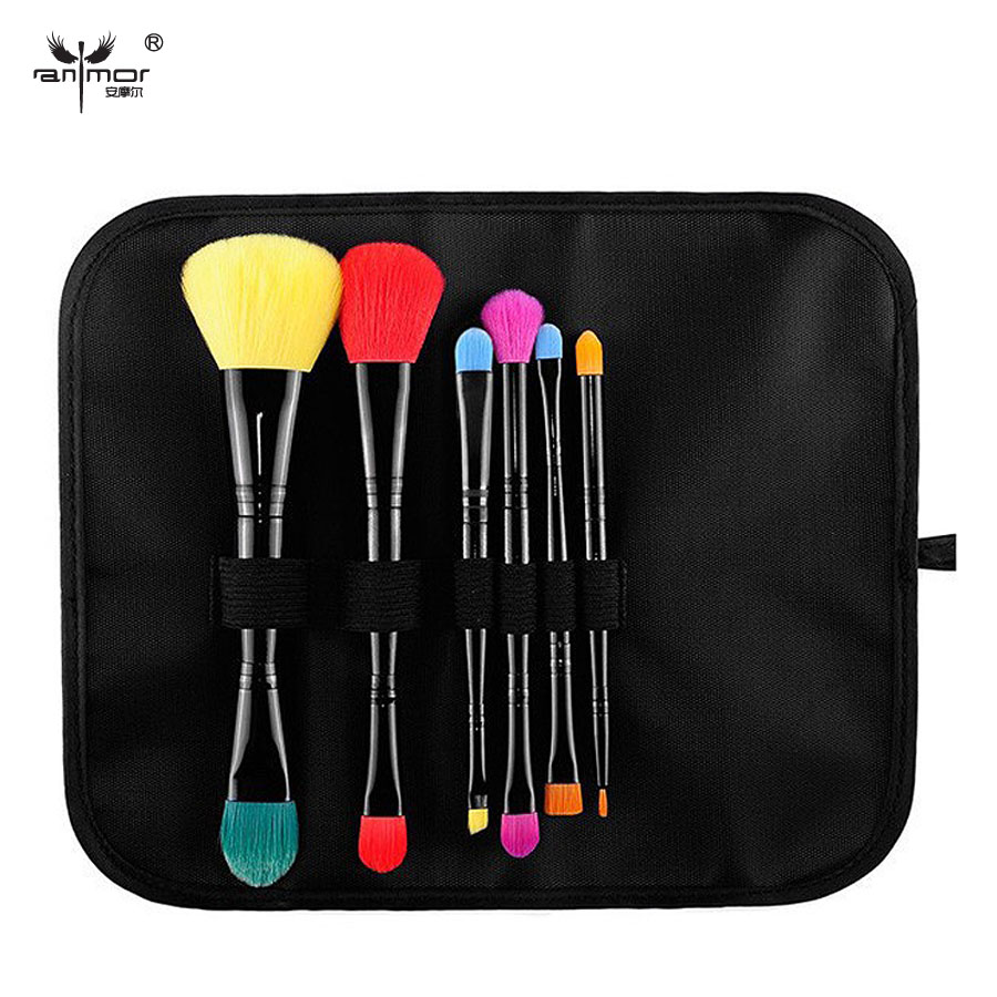 6 pcs Portable Makeup Brush Set Professional Pinceaux Maquillage Double End Make Up Brushes Soft Makeup Brushes With Bag top quality copper ferrule makeup brushes 26 pcs professional makeup brush set black pinceaux maquillage with leather bag q02