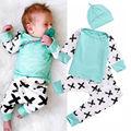 2017 nova moda conjuntos de roupas de bebê menino de algodão de manga longa splicing 3 pcs/terno da criança recém-nascidos do bebê roupas de menina infantil outfits