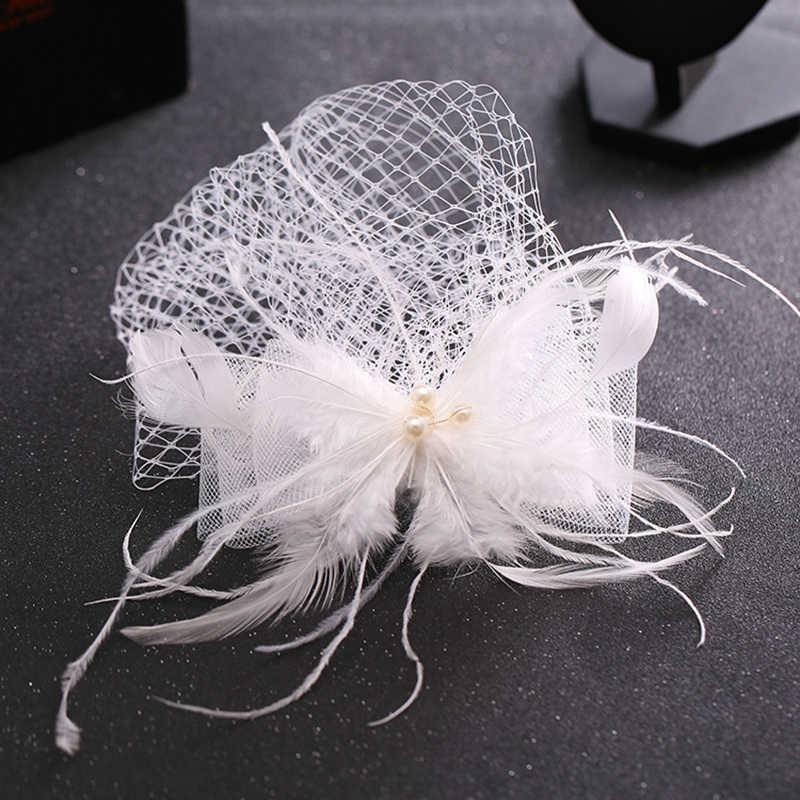 Neue Weiß Tüll Kappe Hochzeit Haar Zubehör Feder Birdcage Net Fascinator Schleier Haarnadeln Haar Clips Braut Frauen Haar Schmuck
