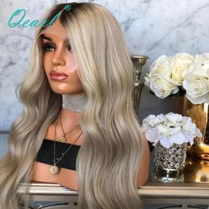 Image 4 - Human Hair Full Lace Wigs Ombre Ash Blonde Grey with Dark Roots Remy Hair Body Wave Full Wig Pre Plucked Baby Hairs 150% Qearl