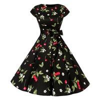Black Dress Summer Women Evening Party White Retro Elegant Vintage Dress 1950 S Short Casual Cherry