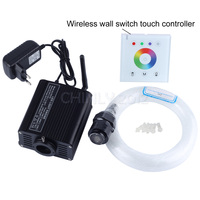 16W RGBW 2.4G wireless wall switch touch controller LED Fiber optic light Star Ceiling Kit Lights 200pcs 0.75mm 2M+crystal