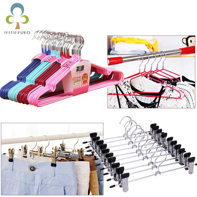 5Pcs Cloth Hanger Durable Anti Deformation Stainless Steel Clip Closet Adult Kid Skirt Dress Pants Clothing Storage Rack GYH