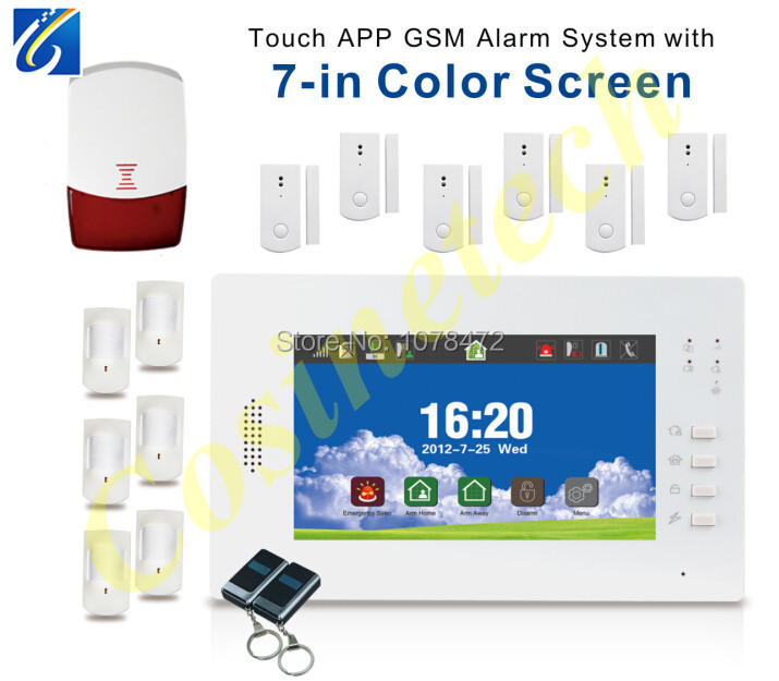 New advanced  intelligent 868MHZ 7 inch touch screen auto-dial SMS home security GSM alarm system with Smart IOS Android App 16 ports 3g sms modem bulk sms sending 3g modem pool sim5360 new module bulk sms sending device