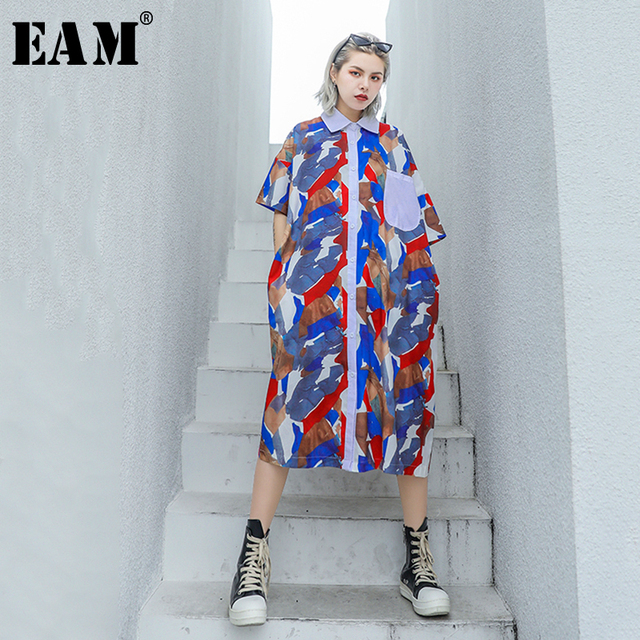 [EAM] 2019 New Spring Summer Lapel Long Sleeve Pattern Printed Loose Big Size Long Thin Shirt Women Blouse Fashion Tide JU633