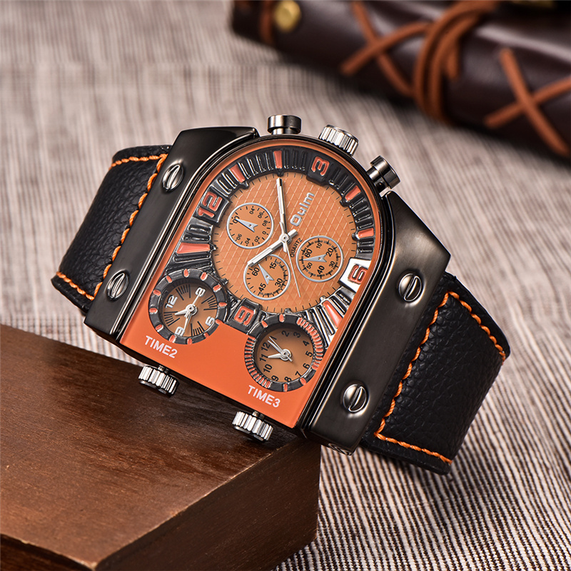 Oulm Luxury Men Watch Leather Wrist Watch For Man Three Time Zone Watches Military Clock Male Sport Quartz Watch montre homme цена