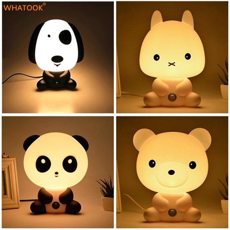 Bonito Panda/Coelho/Cão/Urso LED Luzes Da Noite Animal Dos Desenhos Animados 3D Luz UE/EUA Berçário Para Dormir lâmpada do Quarto do bebê com Caixa de Presentes