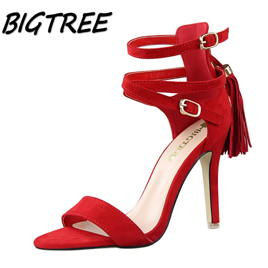 BIGTREE summer women pumps high heels sandals shoes woman Fashion Open toe Cross Buckle Strap party wedding tassel sandals