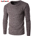 GustOmerD 2016 Autumn Winter O-Neck Fashion Thick Knitting Pullover Men High Quality Solid Slim Mens Sweaters 5 Color M-2XL