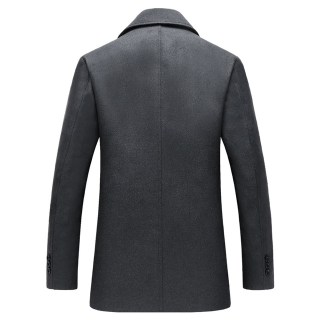 Letskeep New Winter woolen coat men Warm Wool & Blends overcoat thick outerwear mens business jacket turn-down collor MA440