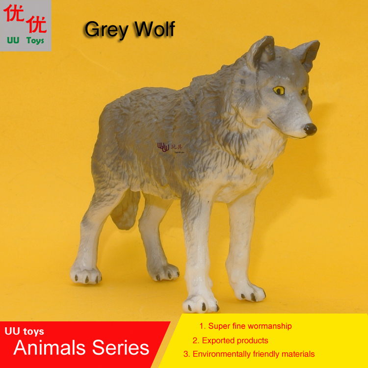Kids Toys Wolf Children Simulation-Model Animals Educational-Props Hot-Toys:middle-Grey