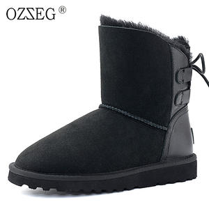 dbd3bc332ed OZZEG Genuine leather Female winter ankle shoe women