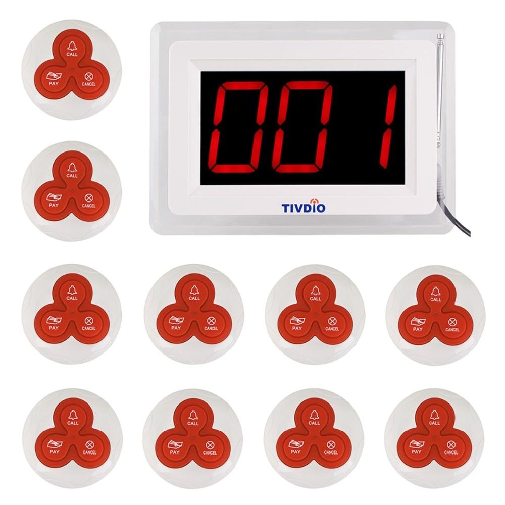 TIVDIO T-114 ресторан пейджер беспроводной Вызов подкачки системы 1 хост дисплей + 10 настольные звонки кнопку обслуживания клиентов F9405B