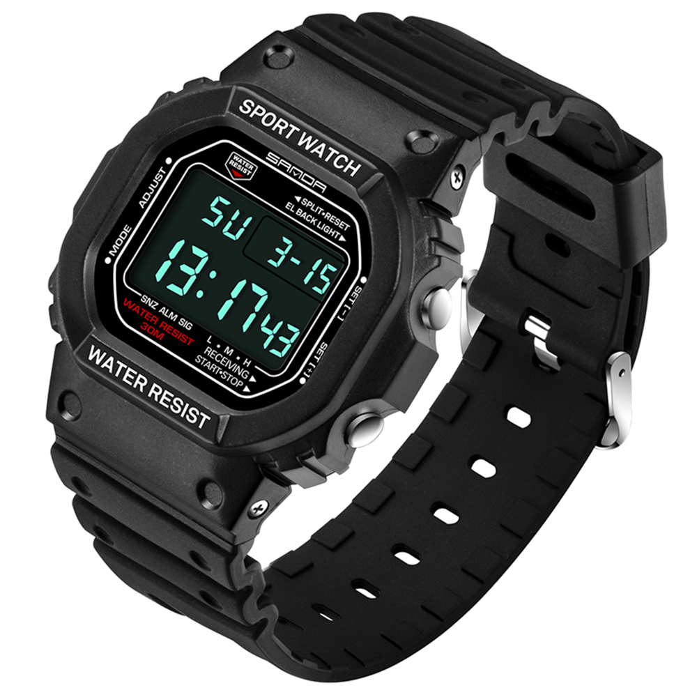2018 Sale New Stainless Steel Back Black Strap Mens Clock Fashion Blue Binary Watch Sports Led 30atm Waterproof Wholesale Clock