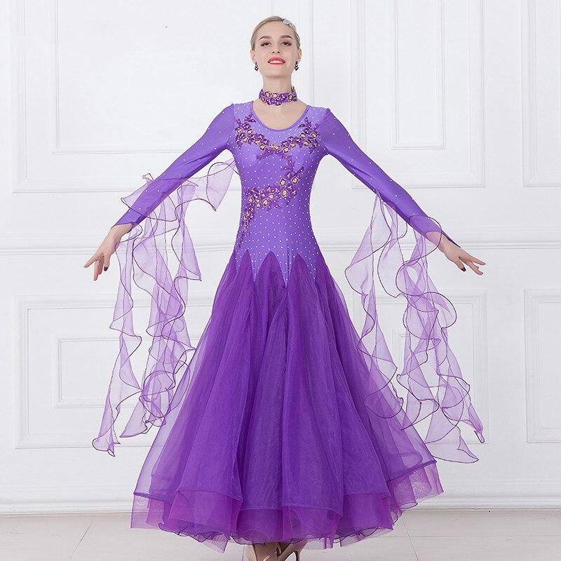 Women Ballroom Dance Dresses Standard Ballroom Dancing Clothes Competition Standard Dance Dress Waltz Foxtrot Dress-in Ballroom from Novelty & Special Use    2