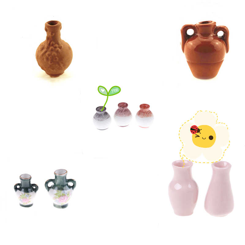 Miniature Gardening Vegetable Flowers Food Decor Vase Furniture Sets For Doll House Access Toy Plastic Craft Kids Christmas Gift