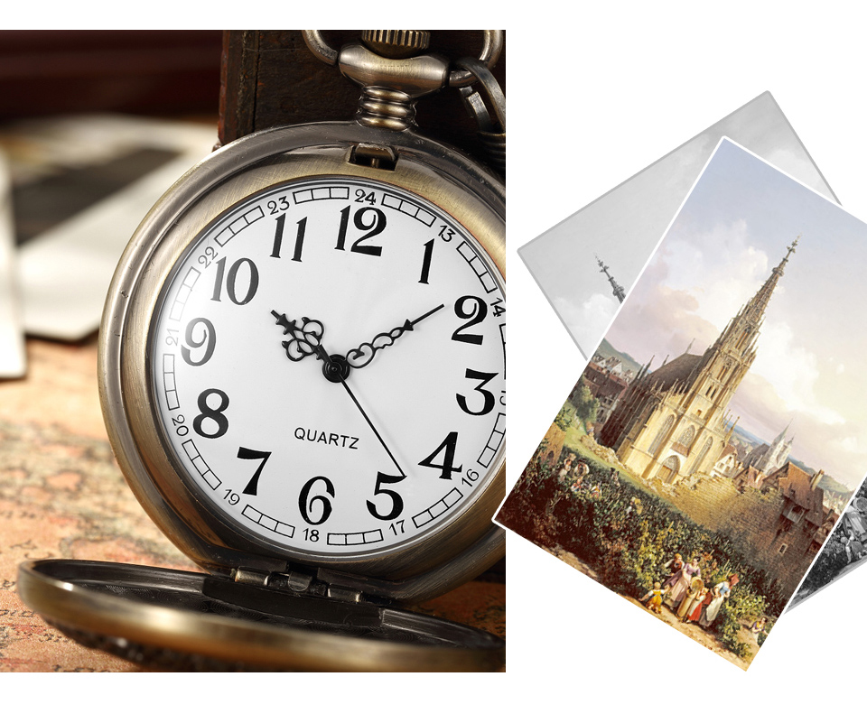 Box Package Solid Wood Mechanical Pocket Watch FOB Chain Locket Dial Hollow Steampunk Skeleton Men Women Mens Male Clock Watches 17