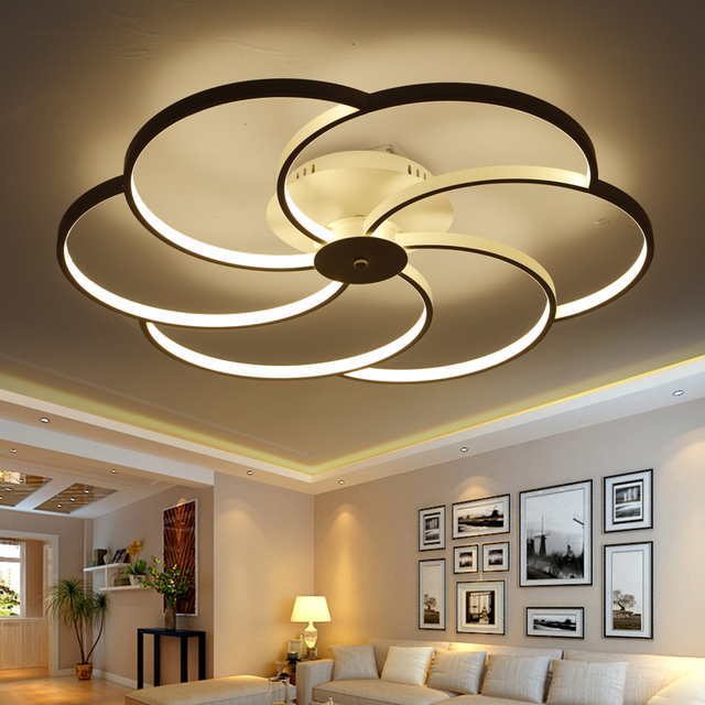 blanc led plafond luminaire led anneau lustre lumi re grand encastr led cercles lampe pour. Black Bedroom Furniture Sets. Home Design Ideas