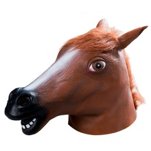 Full Head Horse Head Mask Creepy Fur Mane Latex Realistic Crazy Rubber Super Creepy  Halloween Animal Themed Costume Mask realistic horse head mask full head fur mane latex creepy animal mask for halloween decoration party costume props mdp