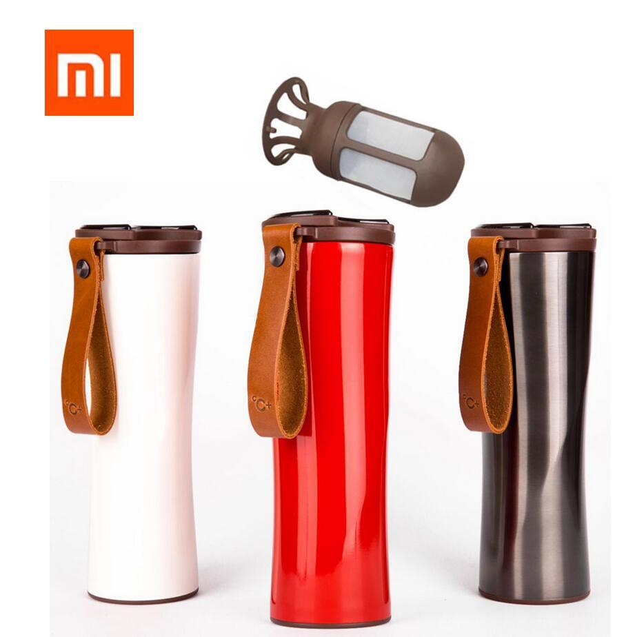 Xiaomi Kuss Kuss Fisch Schlanke Smart Tasse 430 ml Oled-bildschirm Temperatur 310g Protable Edelstahl Heißer Wasser Tasse mit Leder Seil