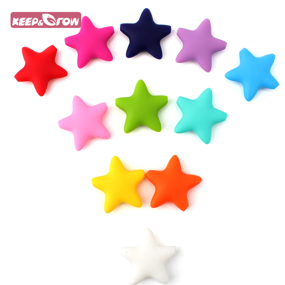 Keep&Grow 5 Pieces Star Silicone Beads Baby Teething Loose Beads Teether Food Grade Teether Beads Baby DIY Pacifier Chain