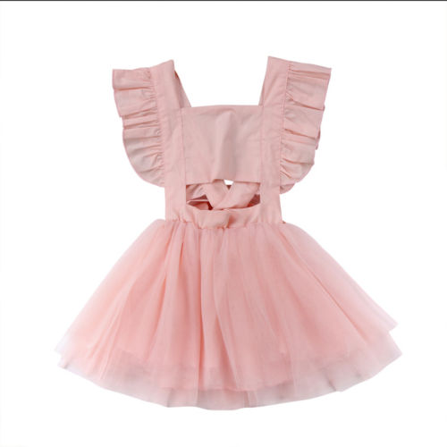 New Fashion Sweet Kids Baby Girl Dresses Princess Sleeveless Off Shoulder Tutu Dress Sundress Clothes Summer 1-5T