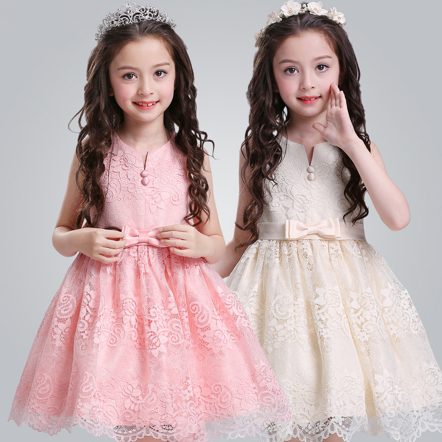 Retail New Style Cute Girl Summer Dress With Bow Children Girl Lace Flower Party Dresses 2 Colors Girl Dresses L5020 retail new girl flower dress child princess gauze dress summer summer costume 7 colors free shipping 5031