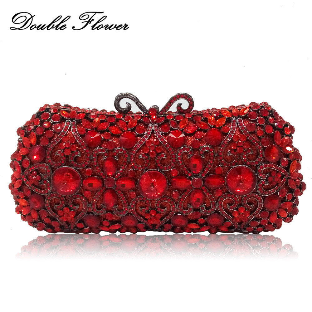 Double Flower Hollow Out Ruby Red Crystal Women Clutch Bag Metal Hard Case Wedding Party Cocktail Minaudiere Handbags and Purses stylish hollow out and metal design sunglasses for women