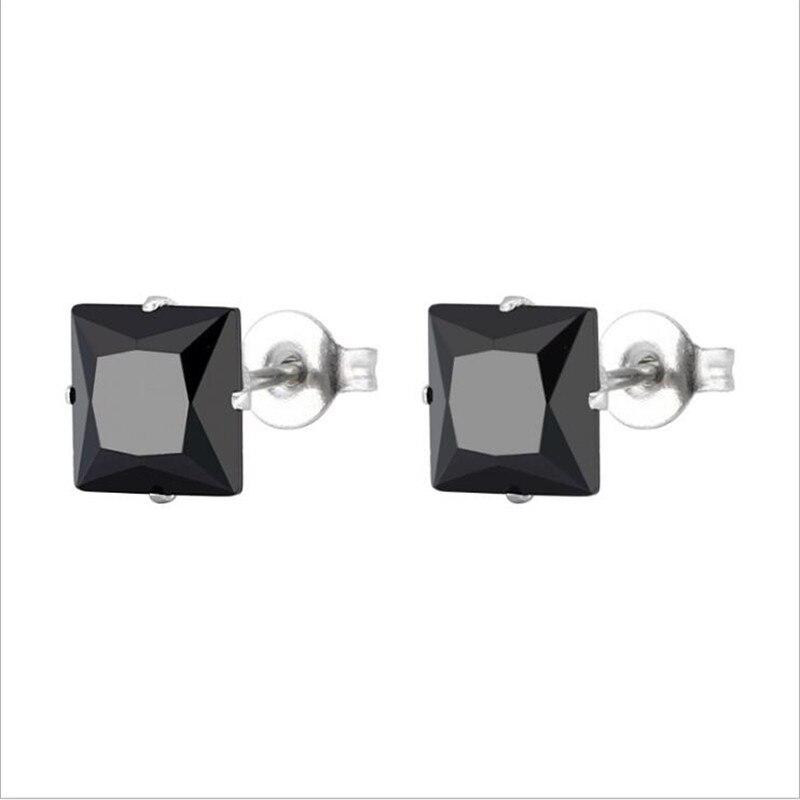 Мужские и женские серьги-гвоздики с квадратным черным цирконием, размер от 3 мм до 8 мм, в виде квадрата, для мужчин и женщин