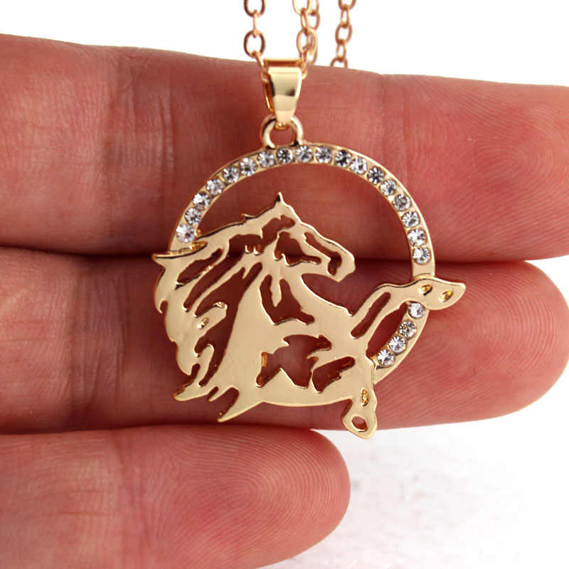 hzew new round shape and running horse pendant necklace horse fashion jewelry gift