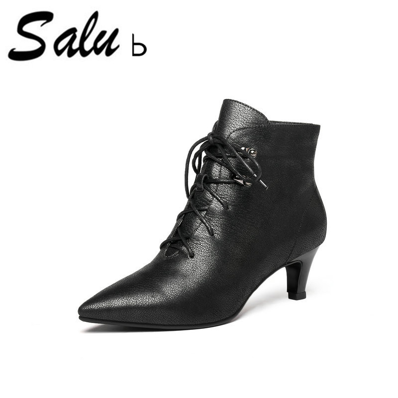 Salu Brand Autumn Ankle Boots Women Genuine Leather Chelsea Booties Ladies Shoes Pointed Toe Heels Plus