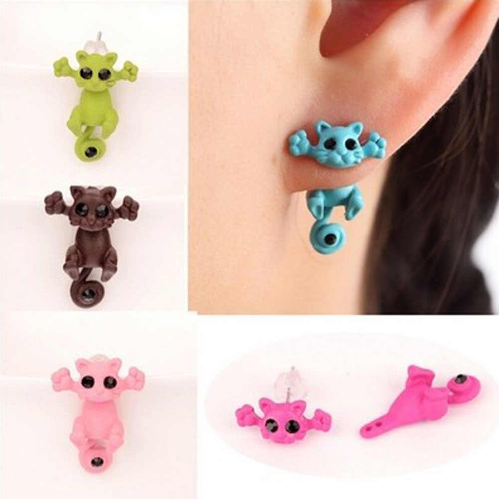 1 PC 2018 New Arrival 3D Imitation Pearl   Cat Cute Stud Earrings Set For Women Girl 9 Colors Free Shipping