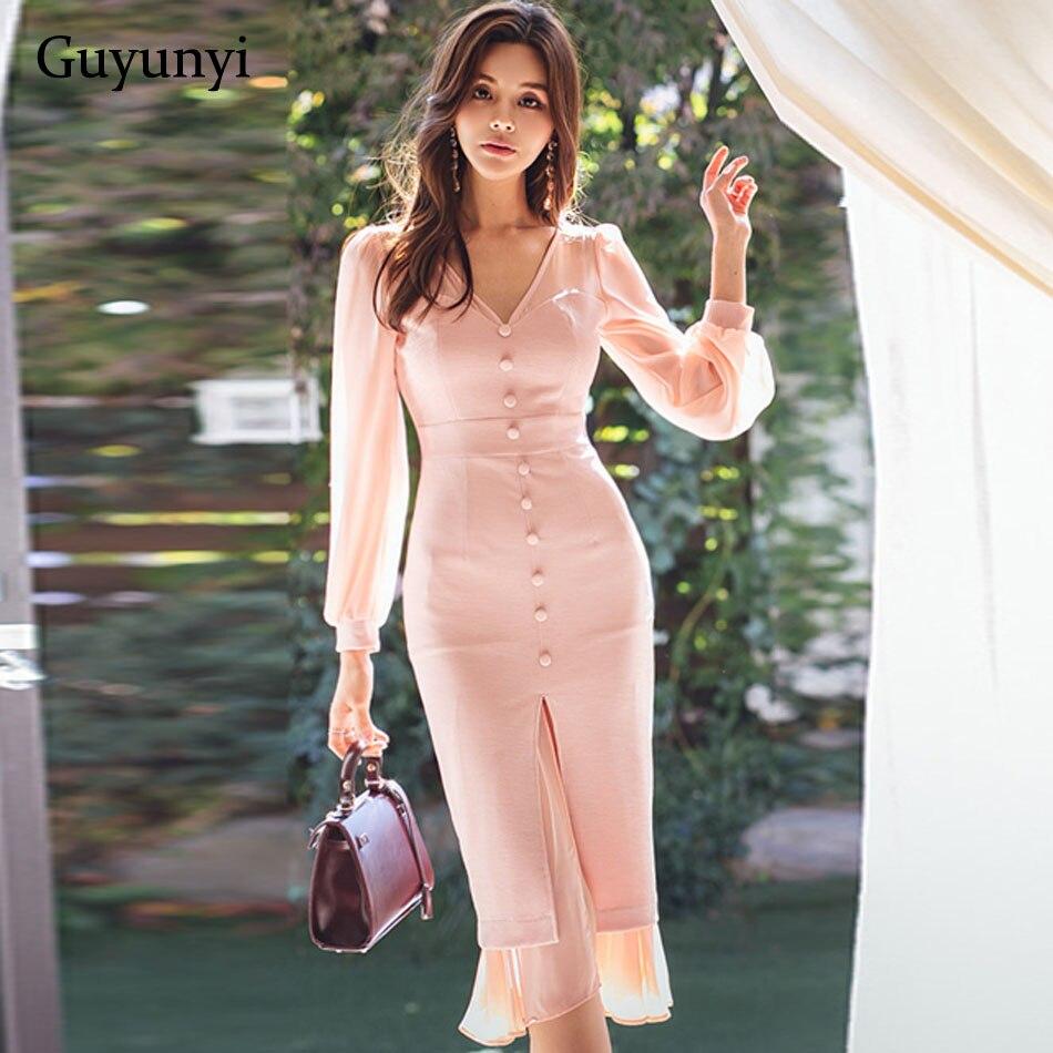 2019 Spring New Style Fashion Women's Long Sleeve Chiffon Stitching Midi Dress Evening Party Dresses Ruffled Hem