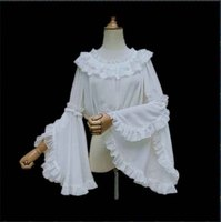 2019 Double Lace Ruffled Collar Long Sleeve Chiffon Blouse Women Loose Shirt Lolita Costume Ivory Black White Crop Tops For Lady