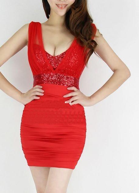 2a727c3d13a Women Red Sexy Tight Mini Short Dress Club Night Low Cut Dress Party Tank  Top Dress