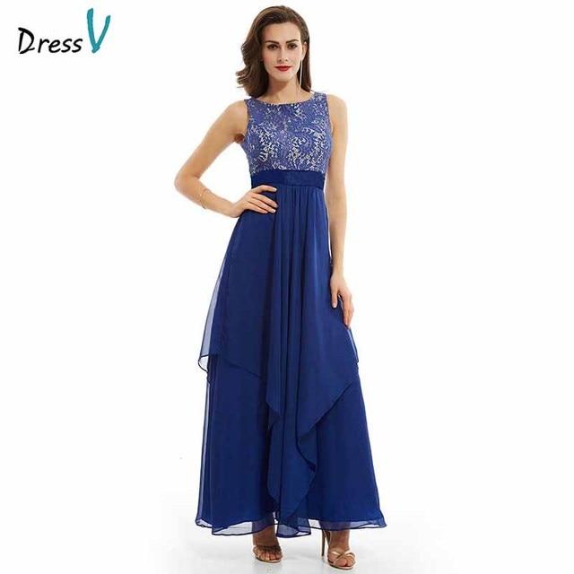 2b798026f632 Dressv blu drappeggiato abito da sera lungo i telai di lunghezza della  caviglia senza maniche scoop