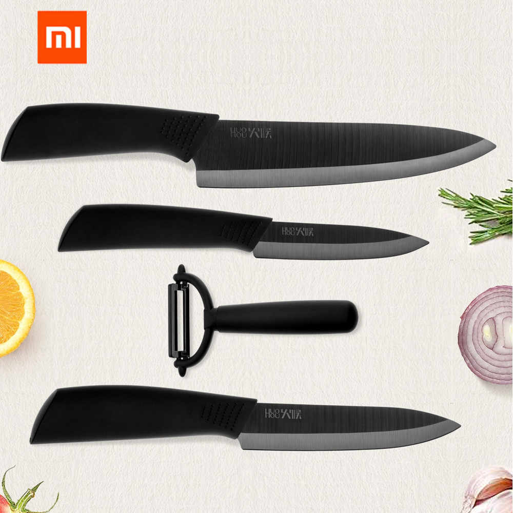 Xiaomi Mijia Kitchen Knife set Huohou Nano-Ceramic Knives Cook Set 4 6 8 Inch Furnace Thinner for Family Chef Slicing Knives