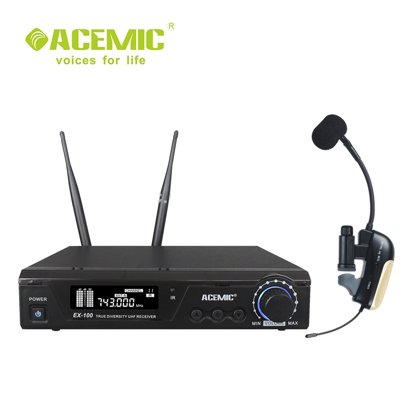 ACEMIC Professional UHF Wireless Saxophone Trumpet Microphone, Wireless Saxophone Amplifier System Musical Instrument Pickup