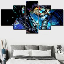 Modern Sub-Zero Mortal Kombat Movie Poster Print Wall Art Home Decor For Children Room Pictures One Set 5 Pieces Canvas Painting