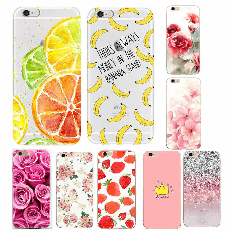 For funda iphone 7 Cases Thin Soft Silicone Transparent Lemon Colorful Floral Case for iPhone 5 5S SE 6 6S X XS 7 8 8Plus Cover
