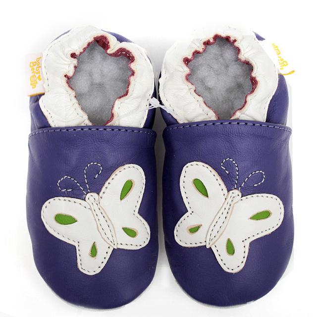 Mocasines de cuero Del Bebé Zapatos de Bebé Recién Nacido Primer Caminante Del Bebé Zapatos de Las Muchachas Suavemente Suela Del Calzado Infantil Mariposa Niño de Los Cabritos Zapatilla