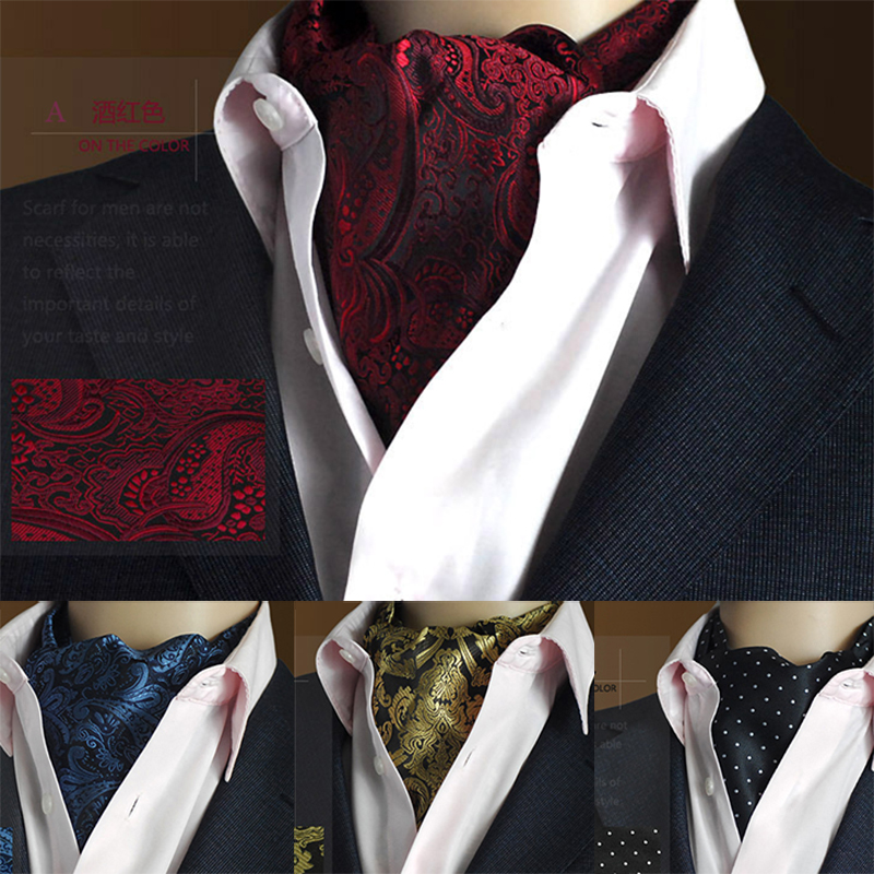 Ricnais Men Vintage Polka Dot Wedding Formal Cravat Ascot Self British Style Gentleman Polyester Silk Neck Tie Suit Wedding