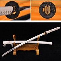 41 Handmade Japanese Sword Battle Ready Japan Samurai Tsuba Katana Sword White