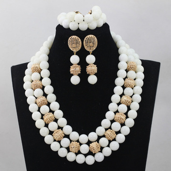 Fashon White Big Beads Costume Jewelry Set 14MM Quality Beads African Wedding Jewelry Set Natural Stone Bead Free Shipping WD510